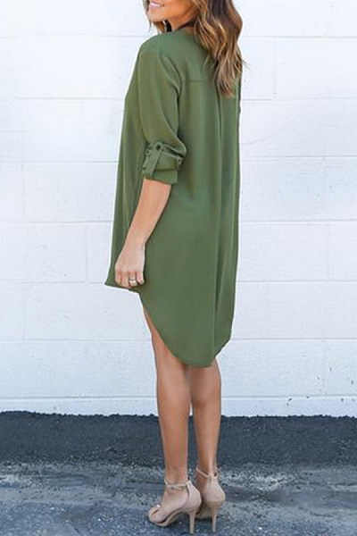 Button Down Collar  Asymmetric Hem  Plain  Long Sleeve Casual Dresses
