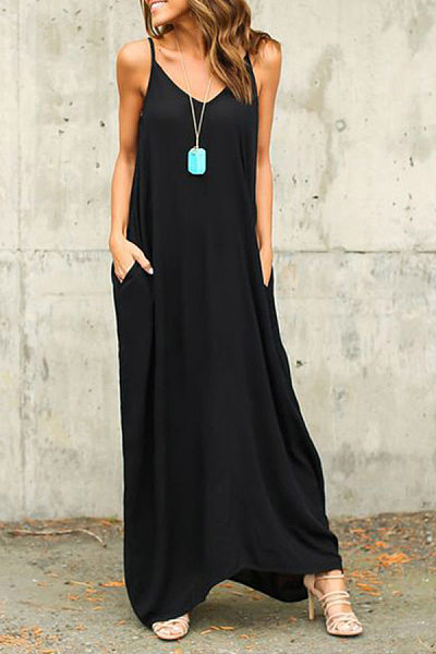 Spaghetti Strap  Loose Fitting Slit Pocket  Plain  Sleeveless Maxi Dresses