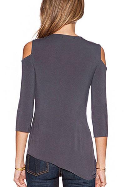 Open Shoulder Asymmetric Hem Shirt