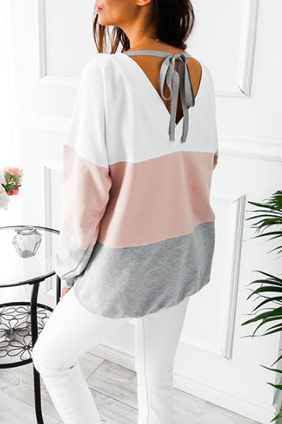 Round Neck  Backless Bow  Color Block T-Shirts