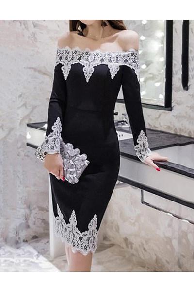 Off Shoulder Decorative Lace Bodycon Dress