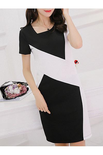 Asymmetric Neck  Color Block Bodycon Dress