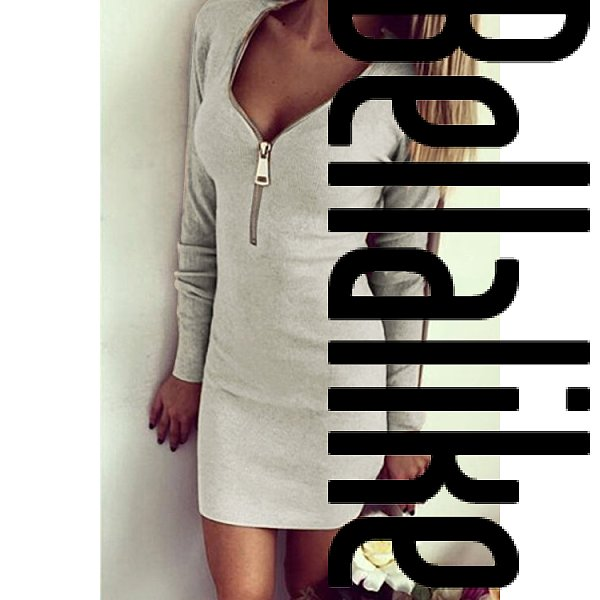 Grey Long Sleeves Ribbed Zip Body-Con Mini Dress