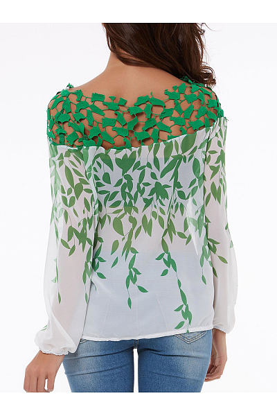 Boat Neck  Floral  Long Sleeve Blouses