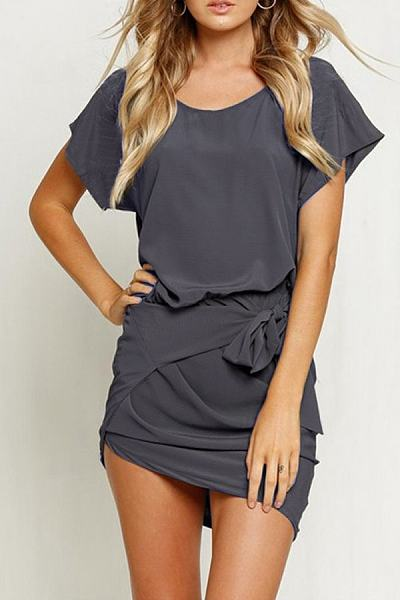 Round Neck Batwing Sleeve Asymmetric Hem Bodycon Dress