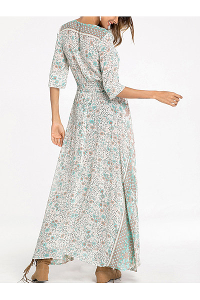 V Neck  Elastic Waist  Print  Long Sleeve Maxi Dresses