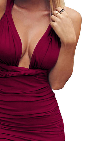 Deep V Neck  Cross Straps  Plain  Sleeveless Bodycon Dresses