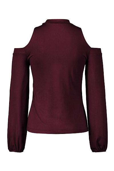 Crew Neck  Cutout  Plain T-Shirts