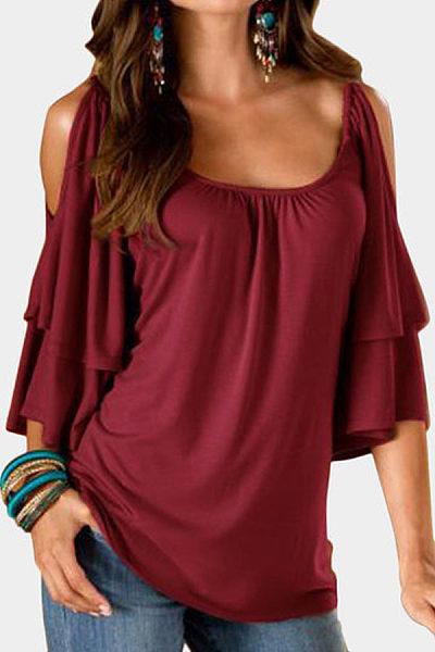 Open Shoulder Round Neck  Plain  Bell Sleeve T-Shirts