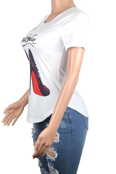 Round Neck  Asymmetric Hem  Print T-Shirts