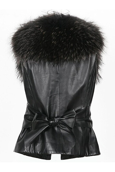 Faux Fur Collar Plain PU Leather Waistcoat