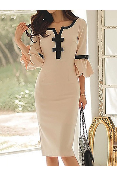 Sweet Heart  Plain  Blend Bodycon Dress