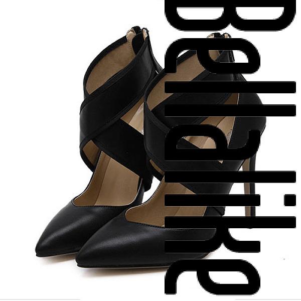 Lace Up Back Zipper Point Toe Heels