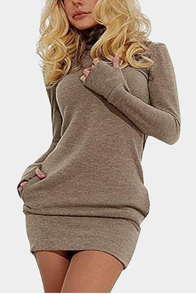 High Neck  Plain Bodycon Dresses