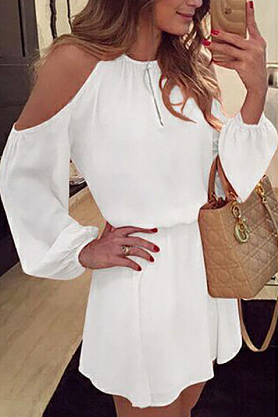 Round Neck  Backless  Plain  Lantern Sleeve  Long Sleeve Casual Dresses