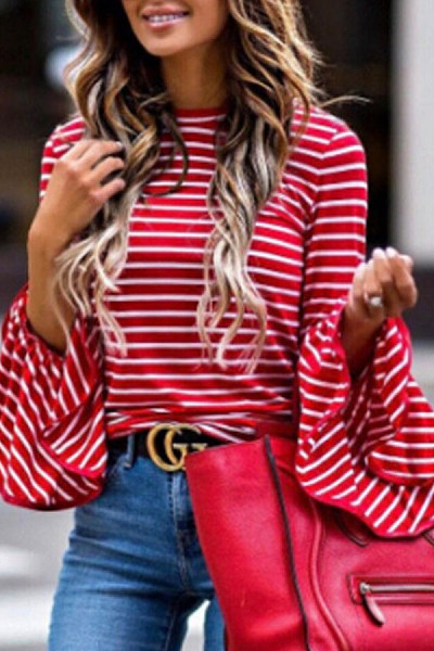 Round Neck  Patchwork  Striped  Bell Sleeve T-Shirts