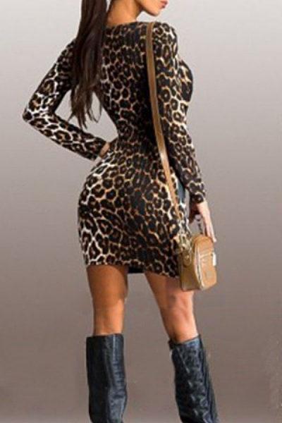 Crew Neck  Color Block Leopard Printed  Long Sleeve Bodycon Dresses