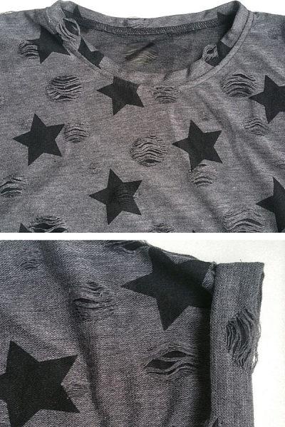Round Neck  Broken Holes  Printed Star T-Shirts