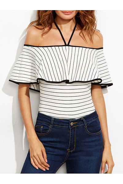 Collarless  Backless  Stripes One Piece