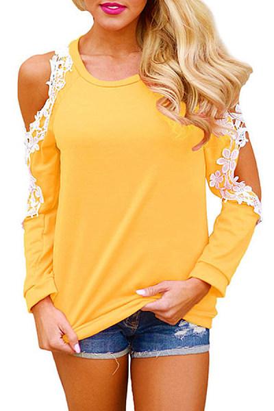 Open Shoulder  Decorative Lace  Color Block T-Shirts