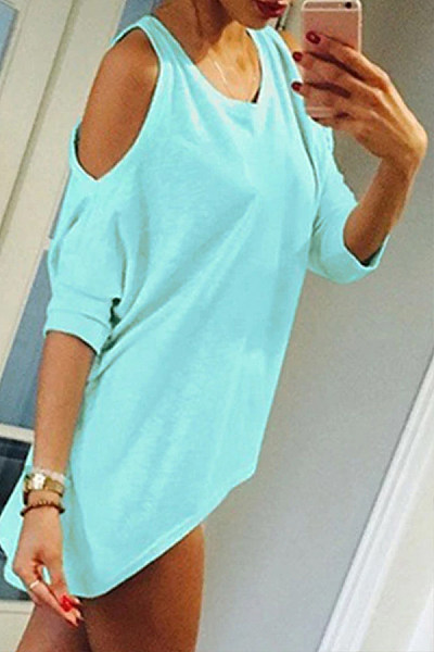 Open Shoulder  Asymmetric Hem Loose Fitting  Plain T-Shirts