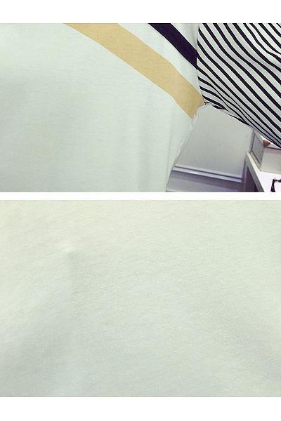 Autumn Spring  Polyester  Women  Asymmetric Neck  Patchwork  Striped Long Sleeve T-Shirts