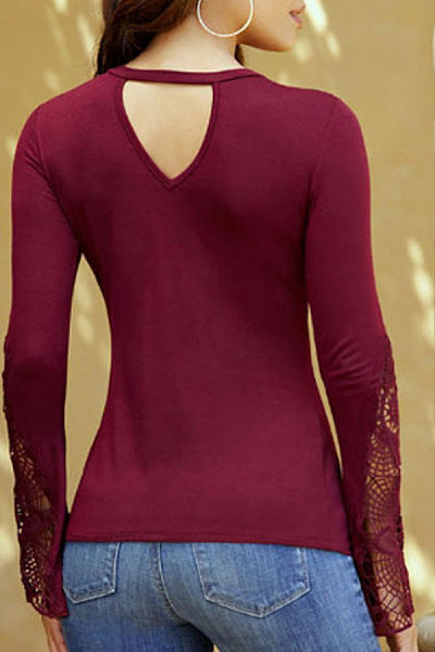 Deep V Neck  Back Hole  Hollow Out Plain T-Shirts