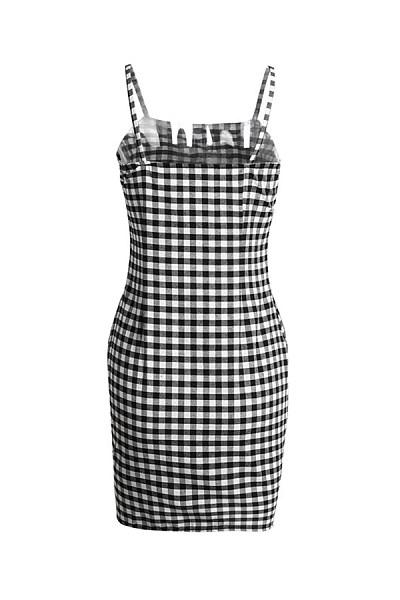 Spaghetti Strap  Backless  Houndstooth  Sleeveless Bodycon Dresses