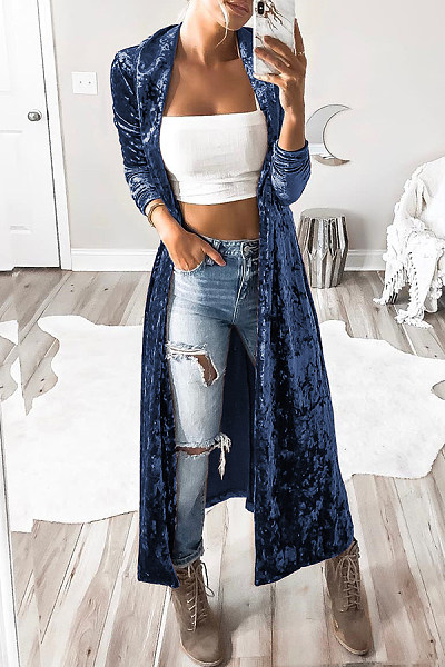 Fold Over Collar  Snap Front  Plain Cardigans