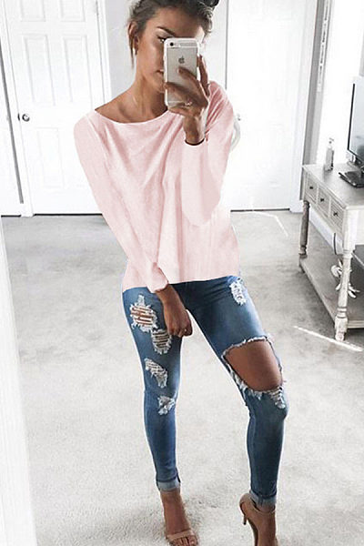 Cutout Round Neck Backless Hollow Details T-Shirts