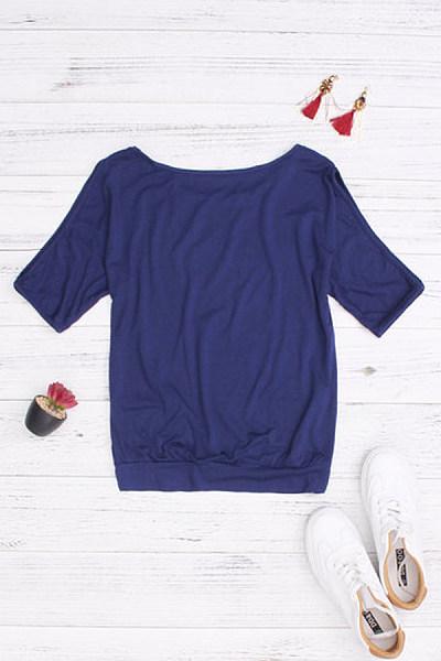 Open Shoulder  Cutout  Printed T-Shirts