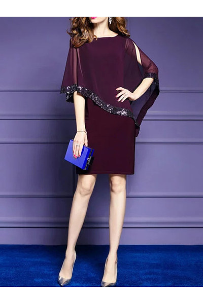 Open Shoulder Glitter Cape Sleeve Hollow Out Plain Bodycon Dress