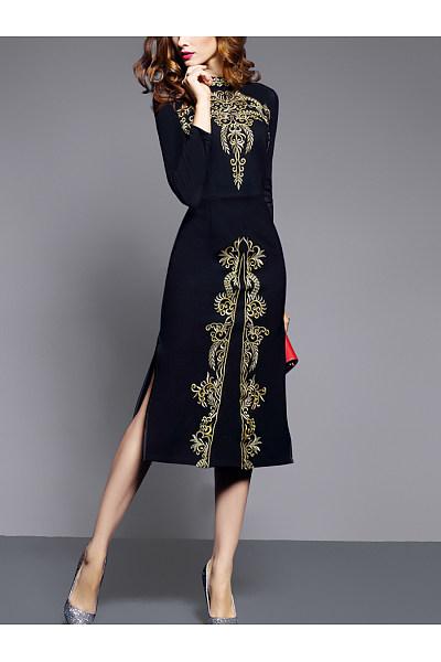 Band Collar  Abstract Print  Blend Bodycon Dress