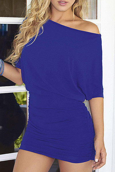 One Shoulder  Plain Pleated Bodice  Half Sleeve Bodycon Dresses