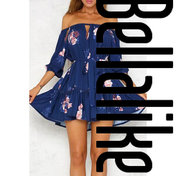 Off Shoulder Backless Cutout Patchwork Belt Loops Floral Printed Three Quarter Sleeve Casual Dresses