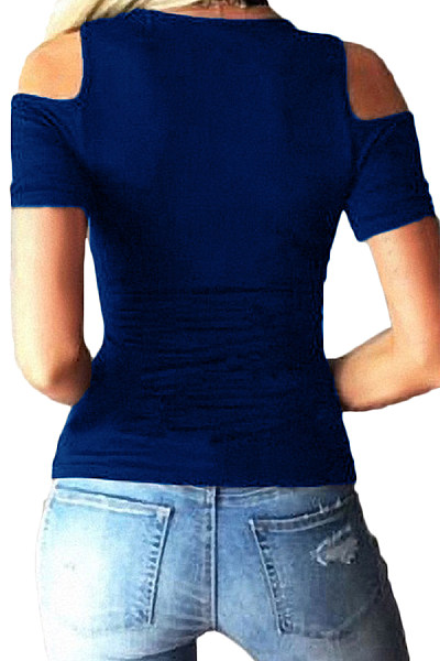 Deep V Neck  Cutout Lace Up  Plain T-Shirts