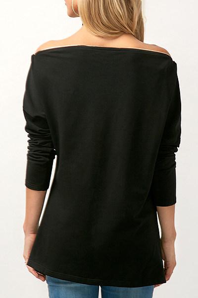 Off Shoulder  Asymmetric Hem Zipper  Patchwork Blouses