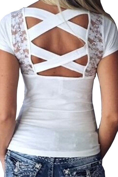 Round Neck  Backless  Hollow Out Lace Plain T-Shirts