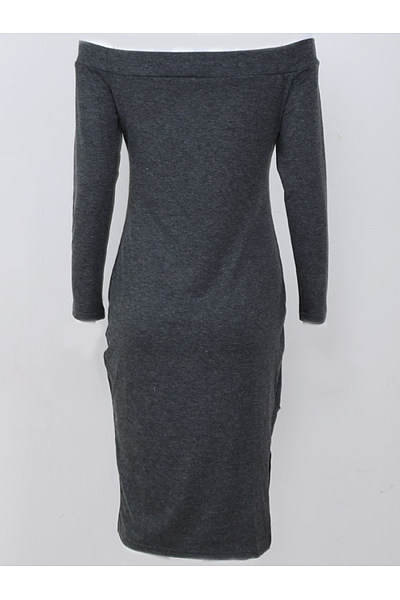 Boat Neck  Plain  Blend Bodycon Dress