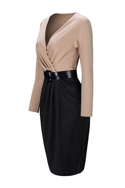 Office V-Neck Color Block Belt Bodycon Dress