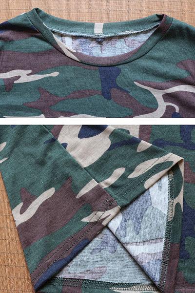 Round Neck  Camouflage T-Shirts