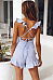Deep V Neck  Backless Flounce  Striped  Short Sleeve  Playsuits