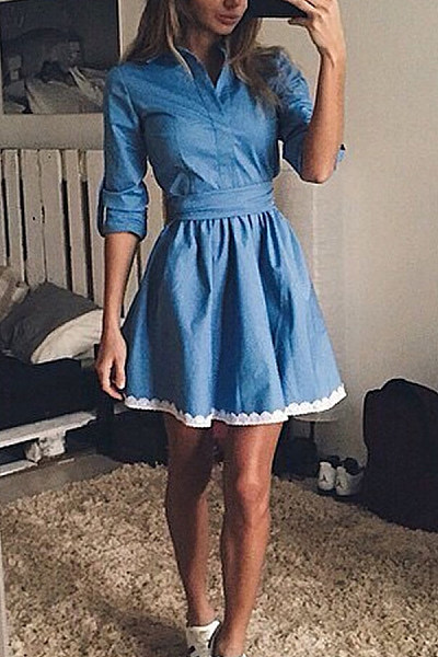 Patchwork  Plain Skater Dresses