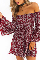 Strapless  Backless  Print  Bell Sleeve Casual Dresses