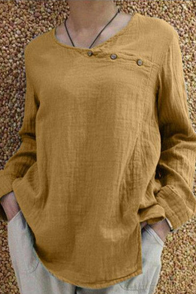 Casual Cotton And Linen Round Neck Solid Color Diagonal Buckle Loose Long-Sleeved T-Shirt