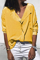 Casual V-Neck Solid Color Pocket Long Sleeve Loose Shirt