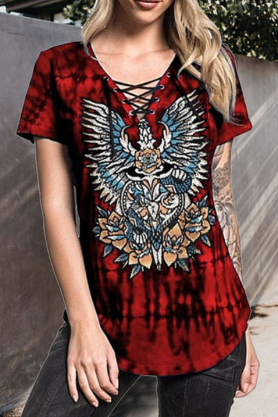V Neck  Lace Up  Printed T-Shirts
