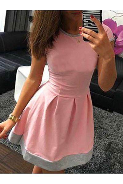 Round Neck Inverted Pleat Color Block Mini Skater Dress