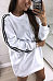 Round Neck  Plain Vertical Striped  Long Sleeve Casual Dresses