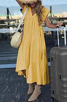 V Neck Plain Asymmetric Hem Maxi Dresses